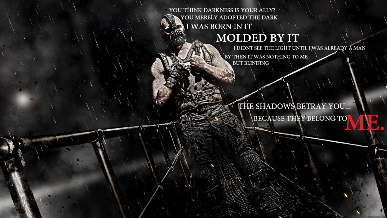 quotes shadows typography darkness bane tom hardy batman the dark knight rises wallpaper