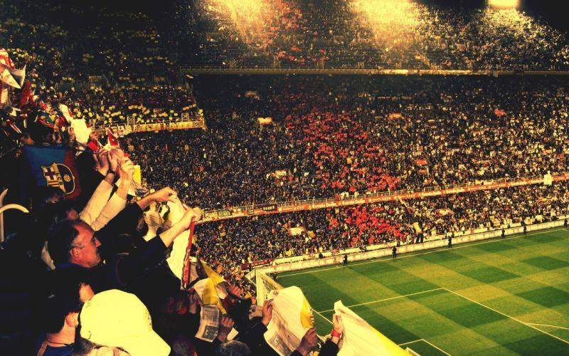 FC Barcelona soccer football crowd stadium people wallpaper