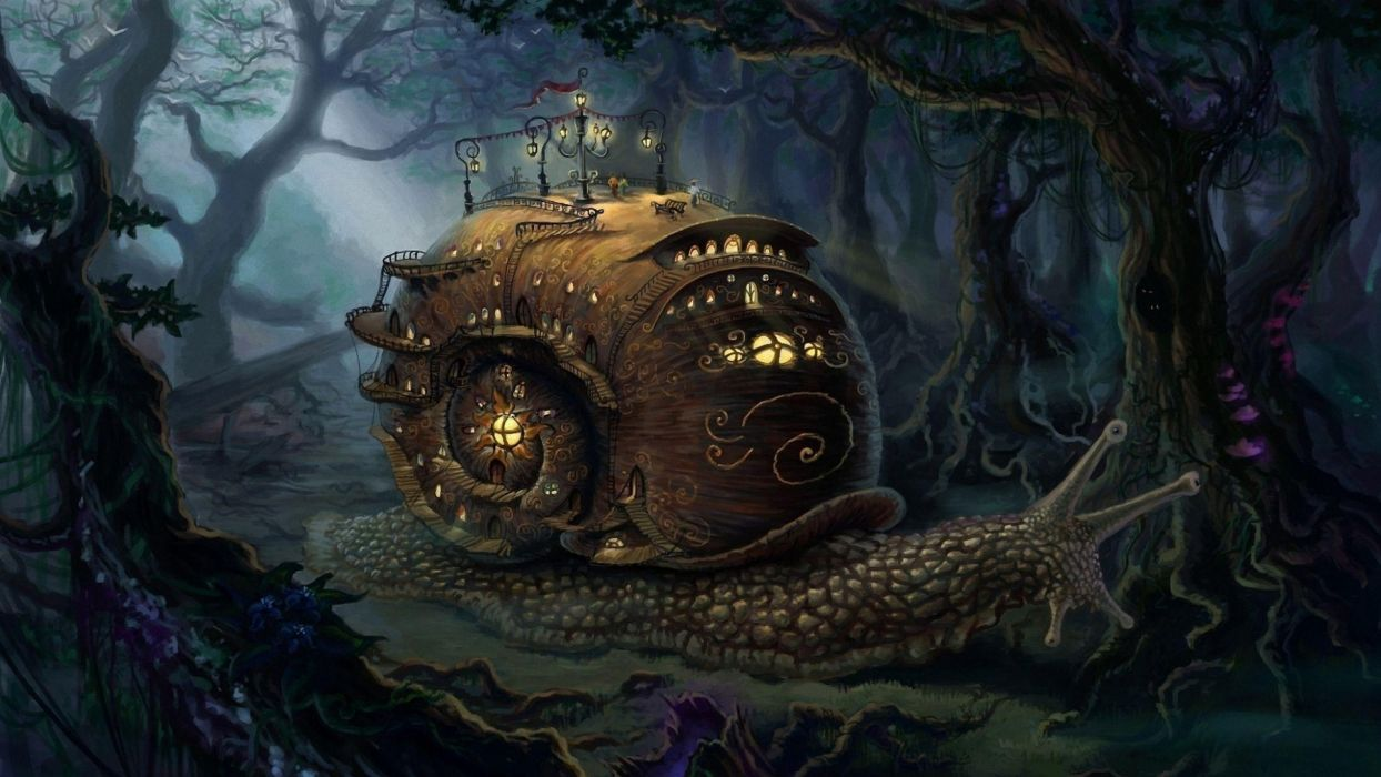 fantasy art landscapes snail steampunk cities trees forest wallpaper