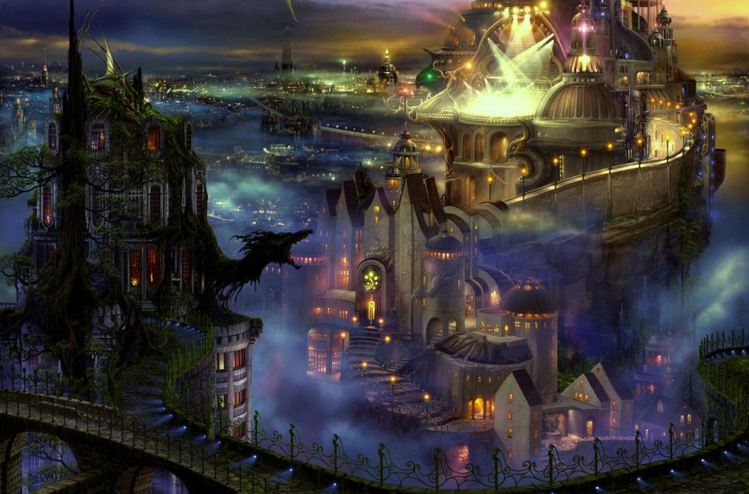 fantasy art cities night lights buildings architecture fog mist castles wallpaper