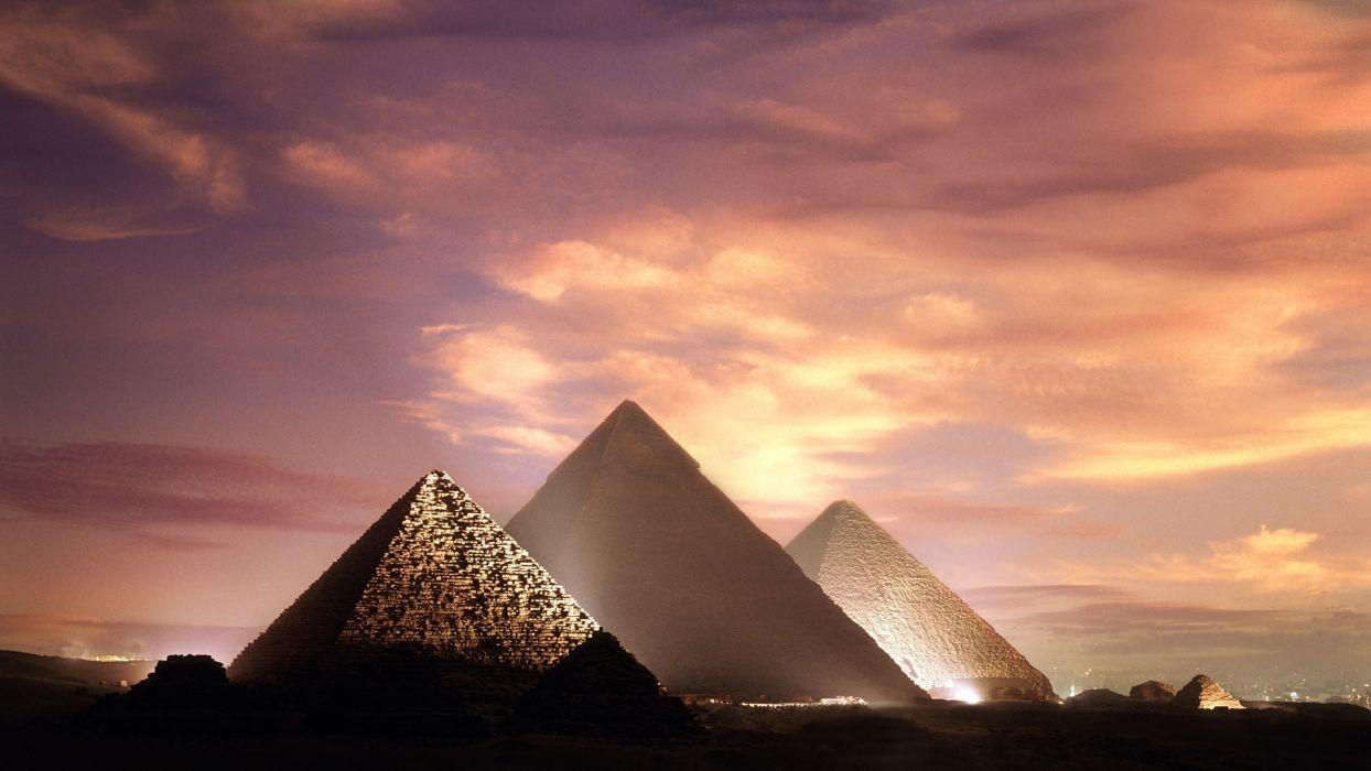 egypt giza pyramids sky clouds wallpaper
