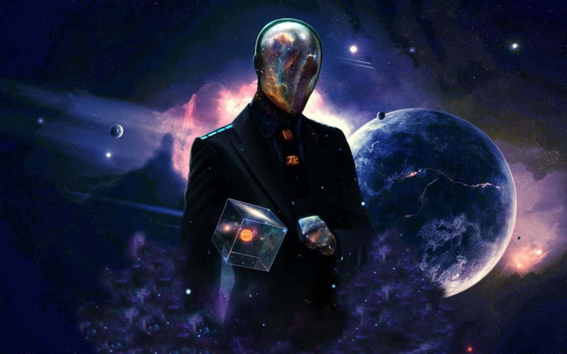 Dan Luvisi sci fi concept space men psychedelic planets stars universe cg digital mask wallpaper