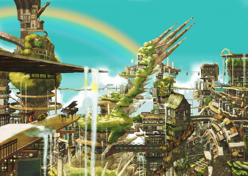 original vector art music piano cities fantasy wallpaper