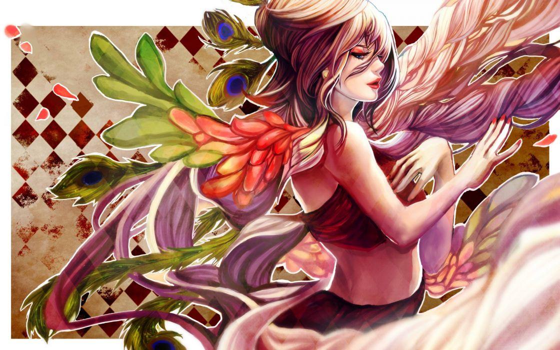 Art kirin no hinote girl feathers women vector angels wallpaper