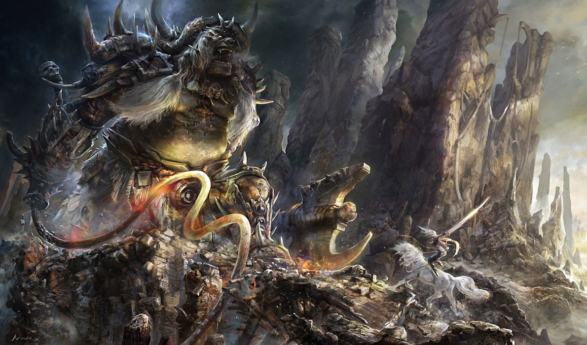 Aleksandr Nikonov fantasy art monsters creatures warriors weapons dark horror wallpaper