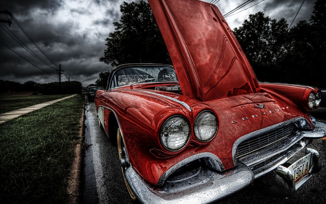 chevrolet corvette hdr red roads retro classic wallpaper