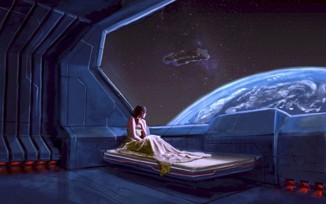 sci fi futuristic space planets window view scenic stars women girl wallpaper