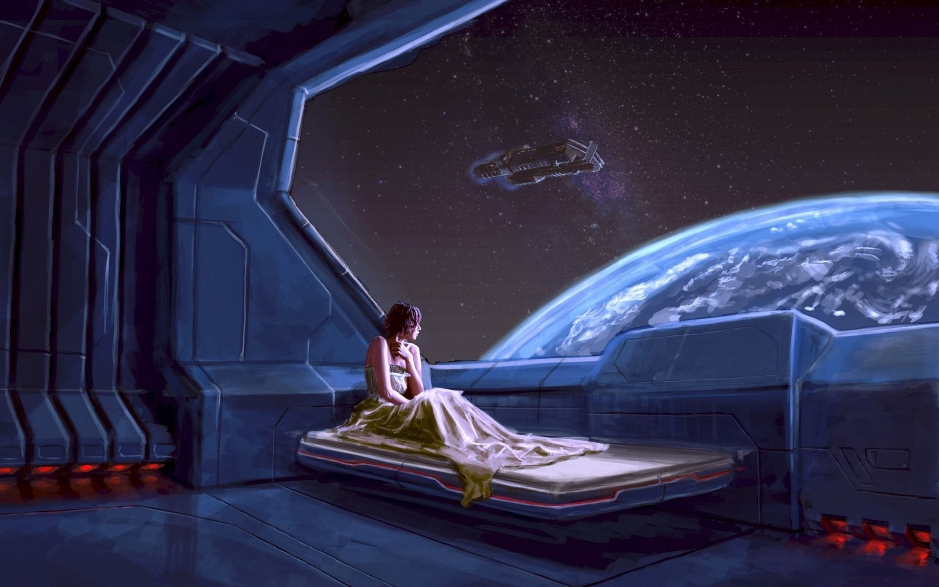 Sci fi futuristic space planets window view scenic stars for Bed tech 3000