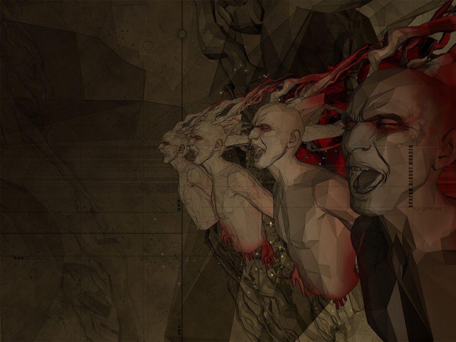 dark horror gothic blood screaming murder wallpaper