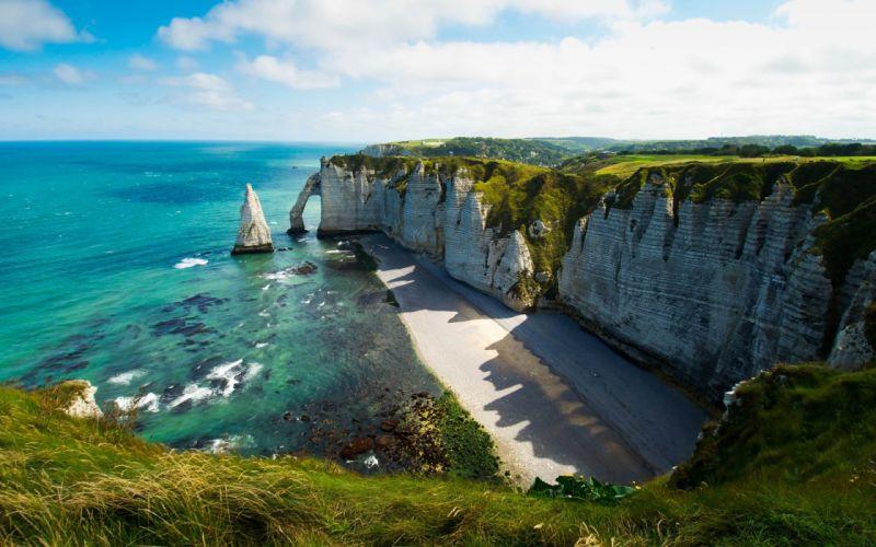 landscapes cliff stone sky slouds ocean wallpaper