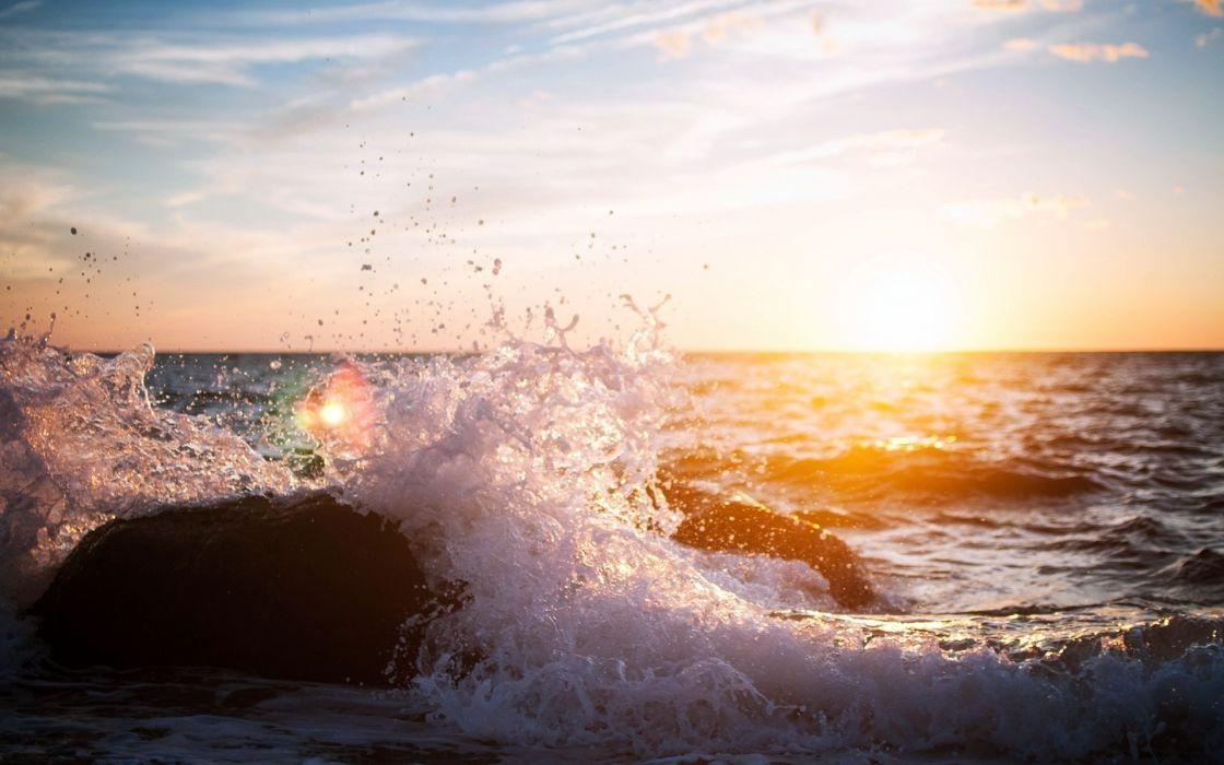 stone rocks waves drops splash spray sunset sunrise sky clouds wallpaper