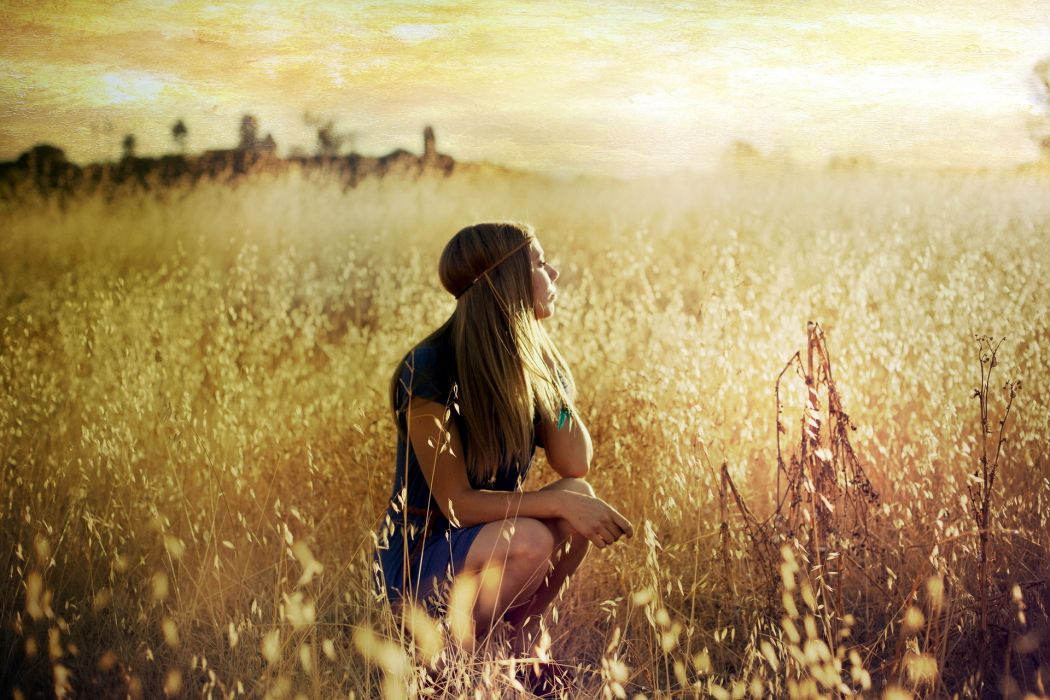 mood tranquil serene landscapes nature fields grass sunrise sunset nature sky women model blondes babes wallpaper