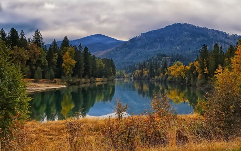 landscapes trees forest mountains sky clouds autumn fall reflection wallpaper