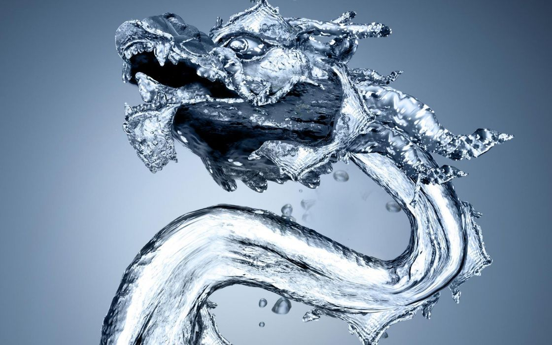 cg digital art fantasy asian oriental dragon water drops sculpture ice wallpaper