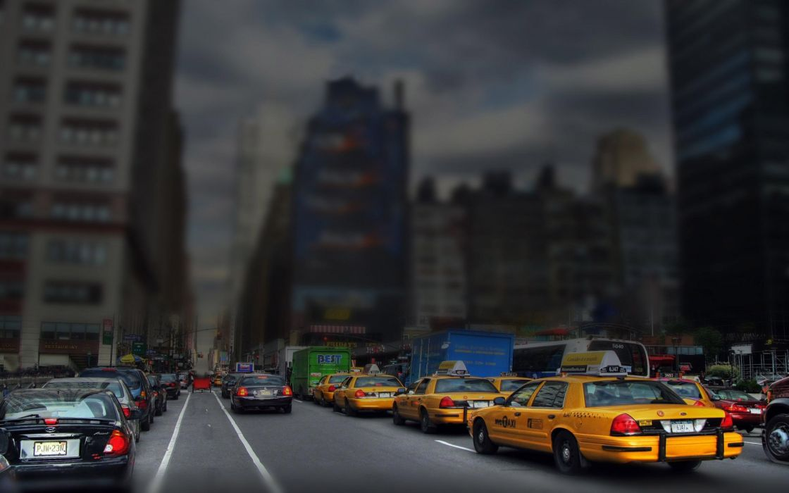 new york taxi tilt shift cars buildings sky wallpaper