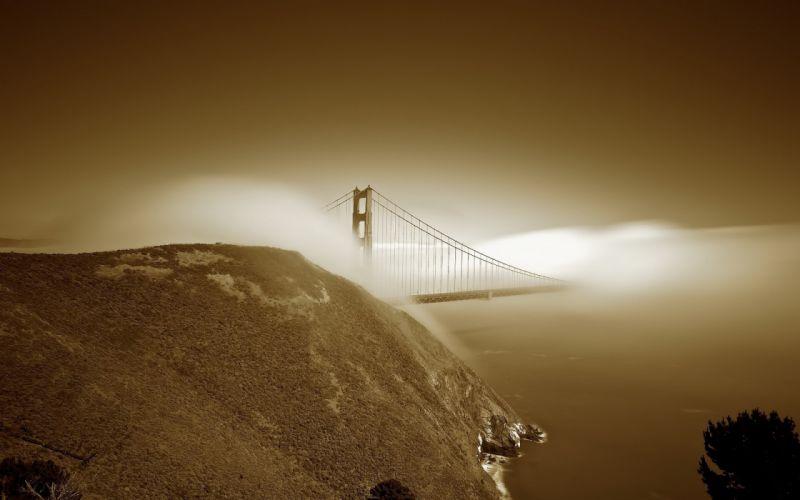 nature landscapes hill fog mist sky san fran bridges wallpaper