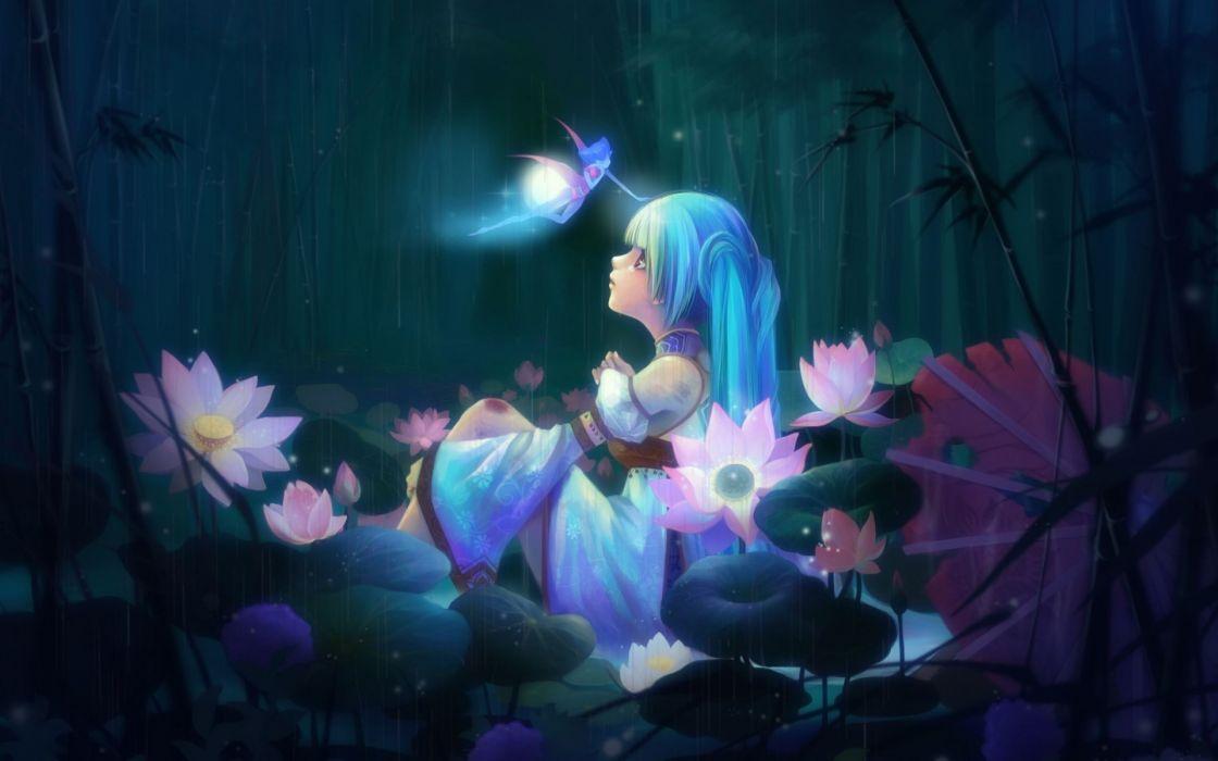 fantasy art fairy trees forest magic flowers girl wallpaper