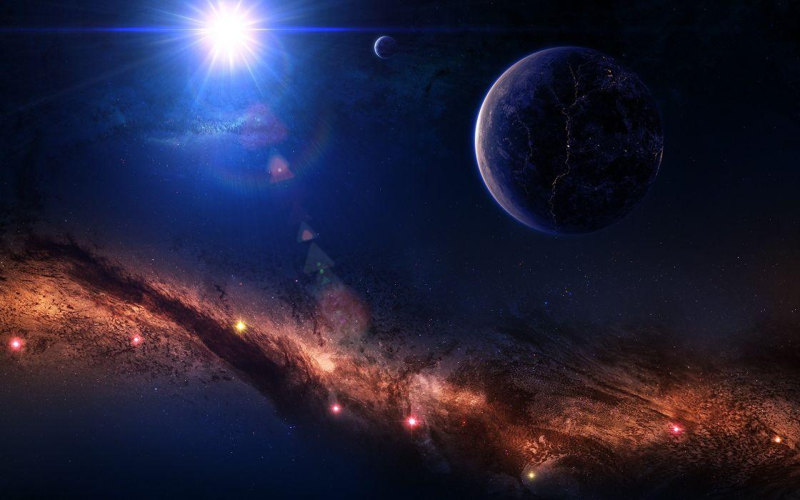 sci fi cg digital art nebula stars planets wallpaper