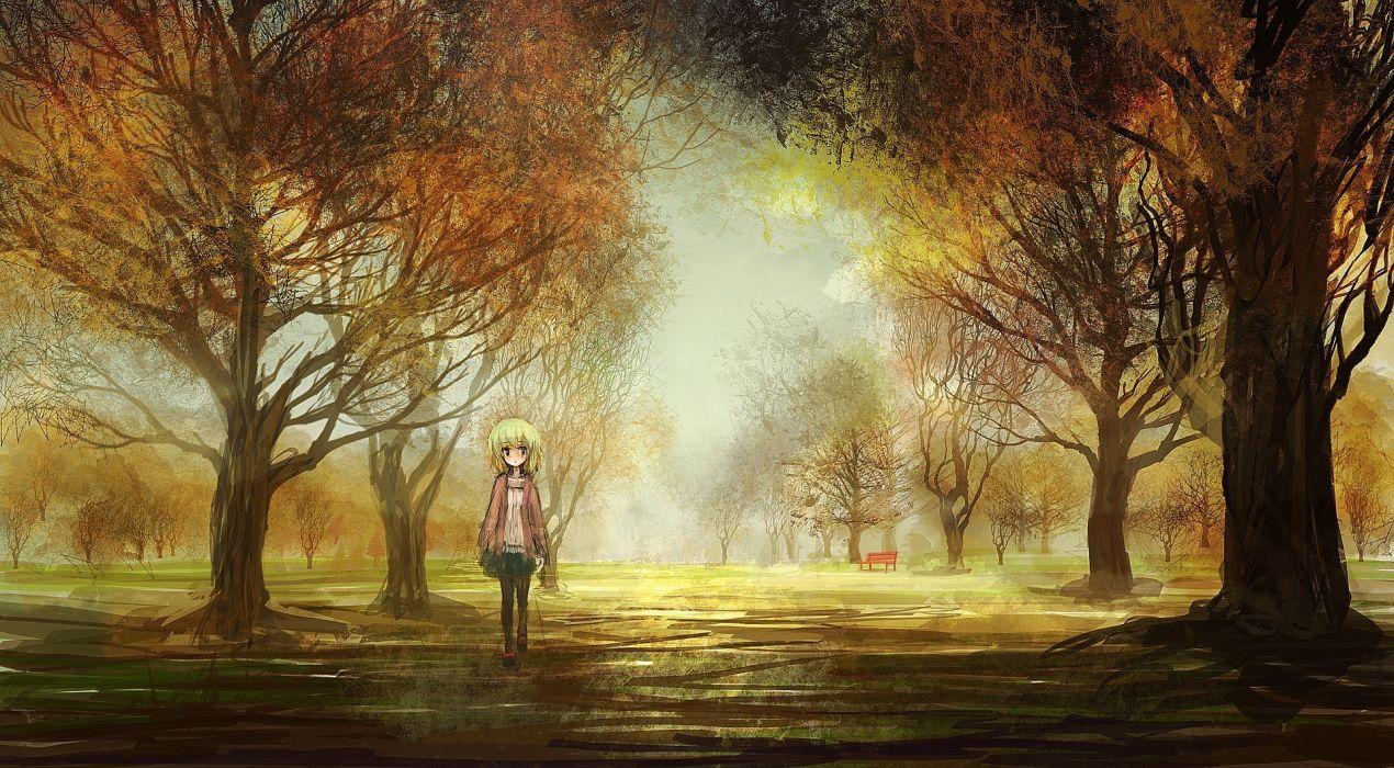 original art girl landscapes anime trees park autumn fall wallpaper