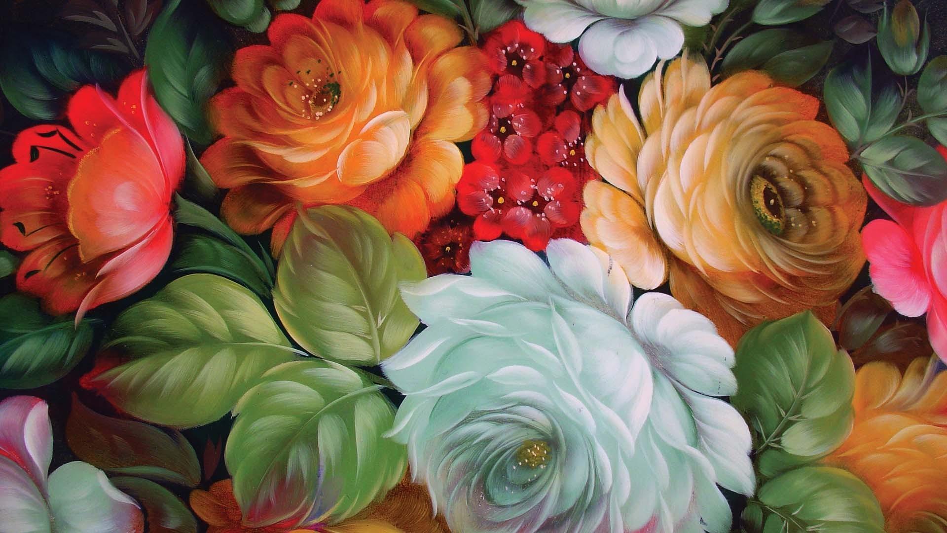 Art paintings flowers bouquet wallpaper 1920x1080 for Art flowers