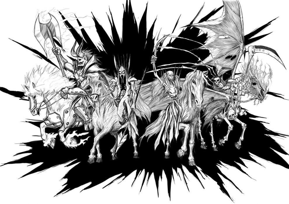 4 Horsemen of the Apocalypse dark horror reaper horses religion wallpaper