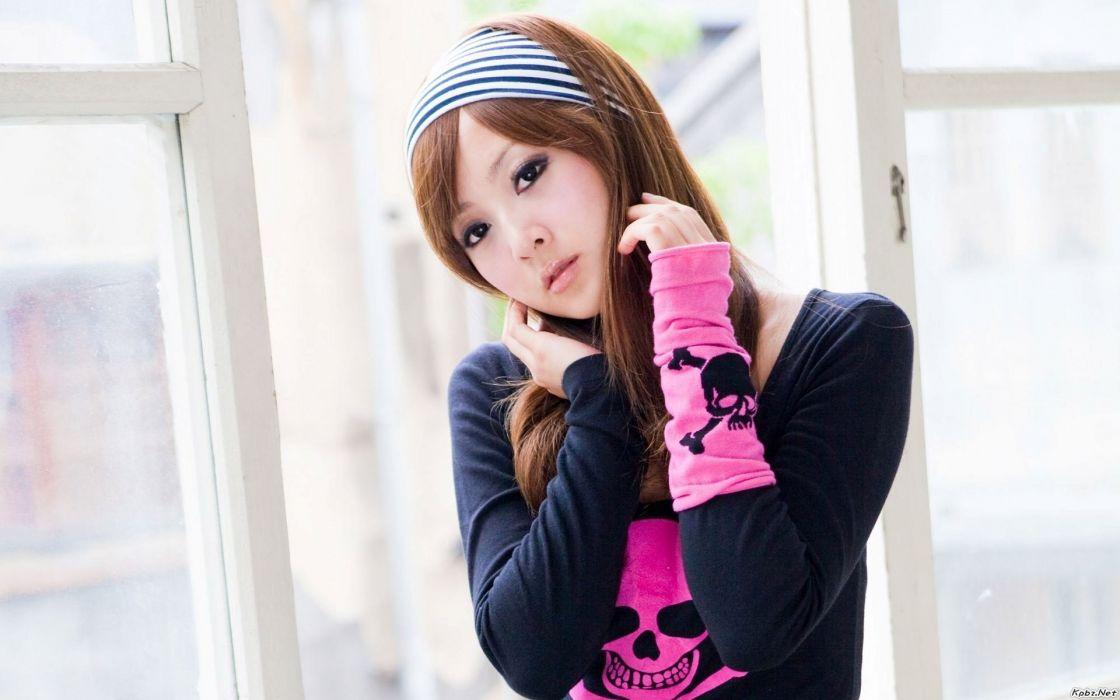 japanese asian oriental women redhead skull pink face model sexy babes urban style wallpaper