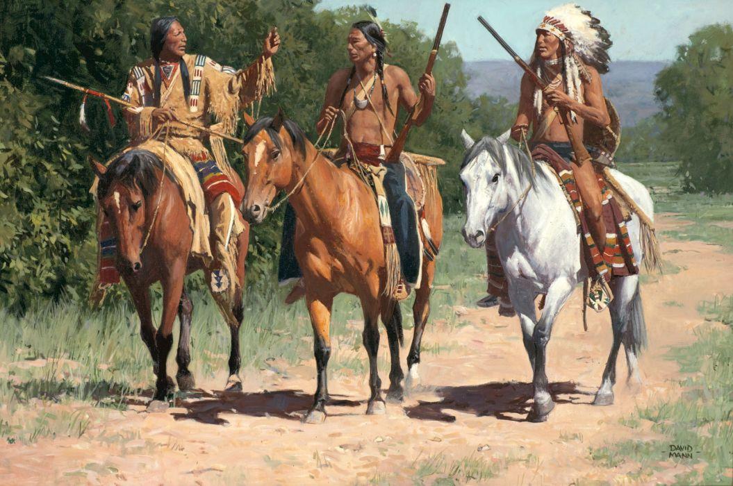 native american indian horse paintings art western wallpaper