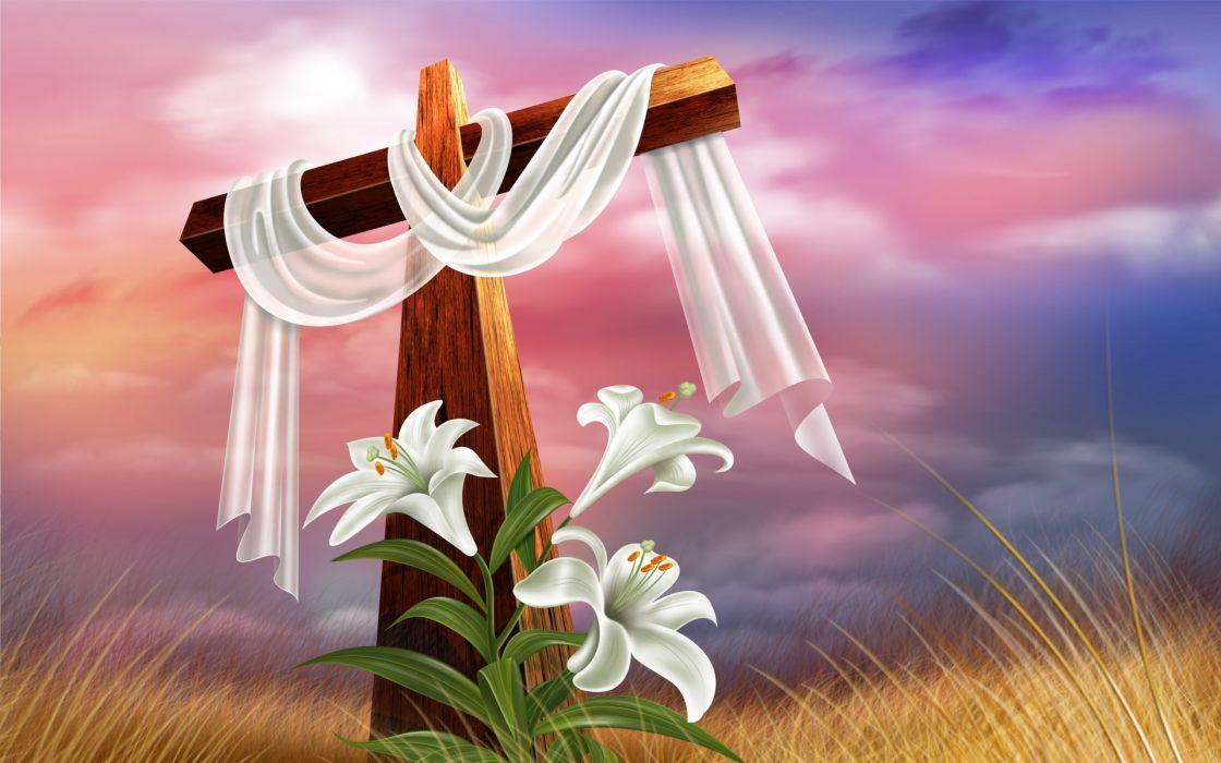 cross religion christian flowers wallpaper