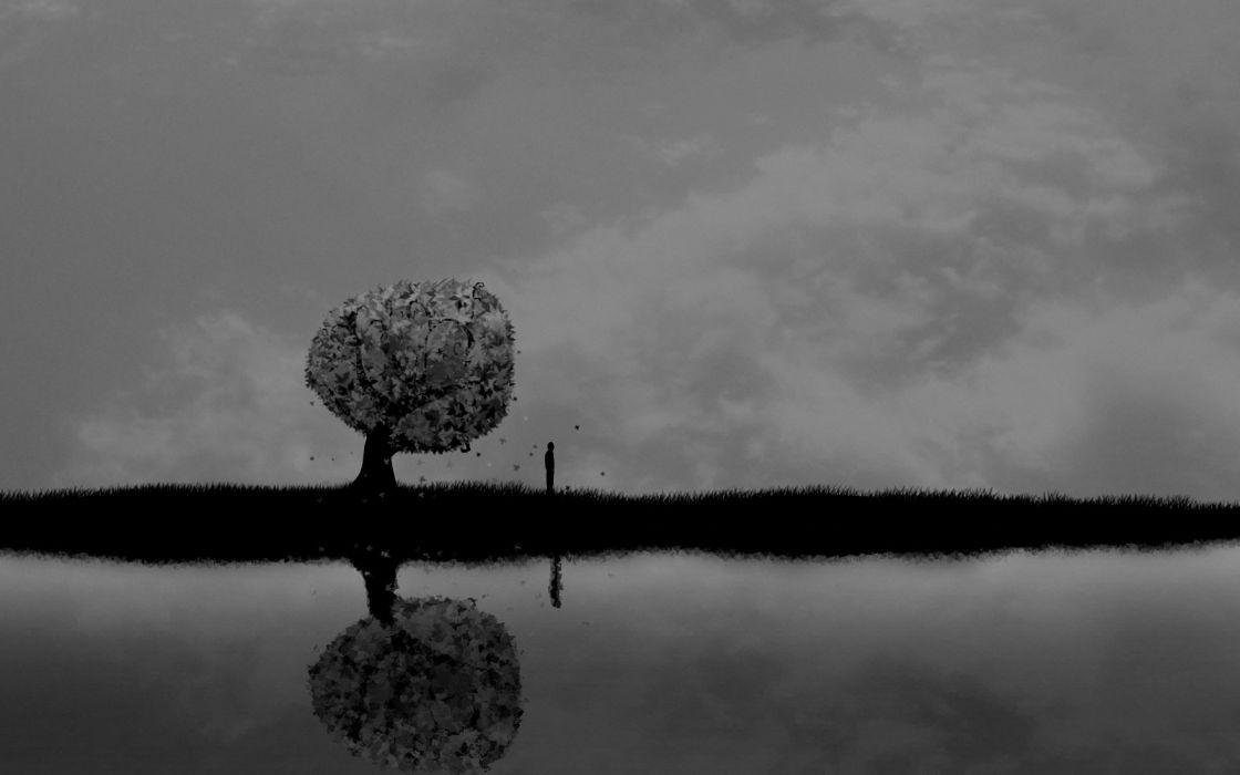 dark horror mood alone sad sorrow vector art lakes reflection trees people sky clouds wallpaper