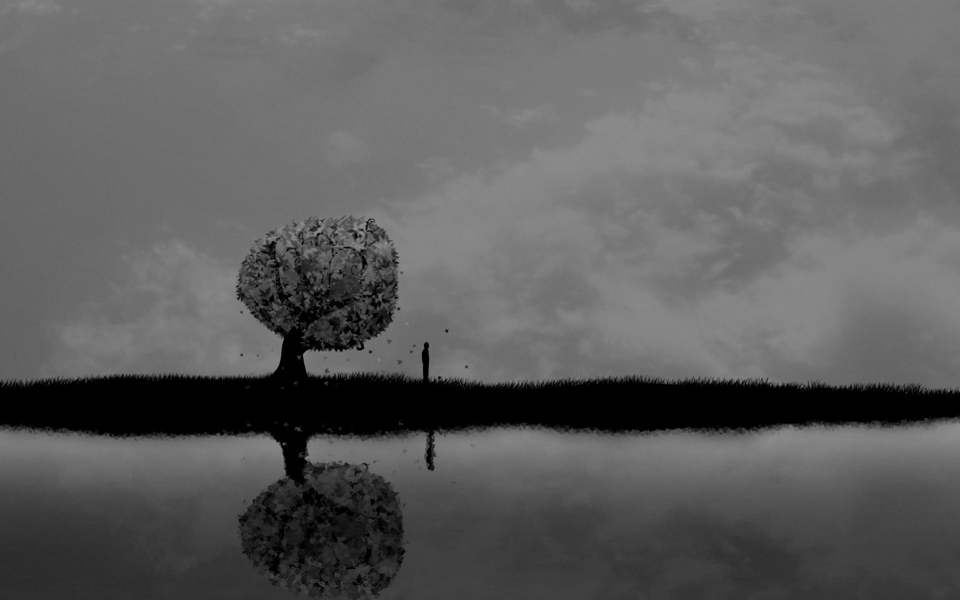 Dark horror mood alone sad sorrow vector art lakes ...