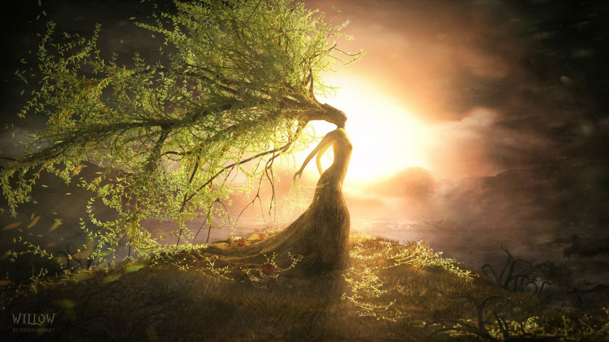 fantasy art willow landscapes mood trees sunset sunrise women gods wallpaper