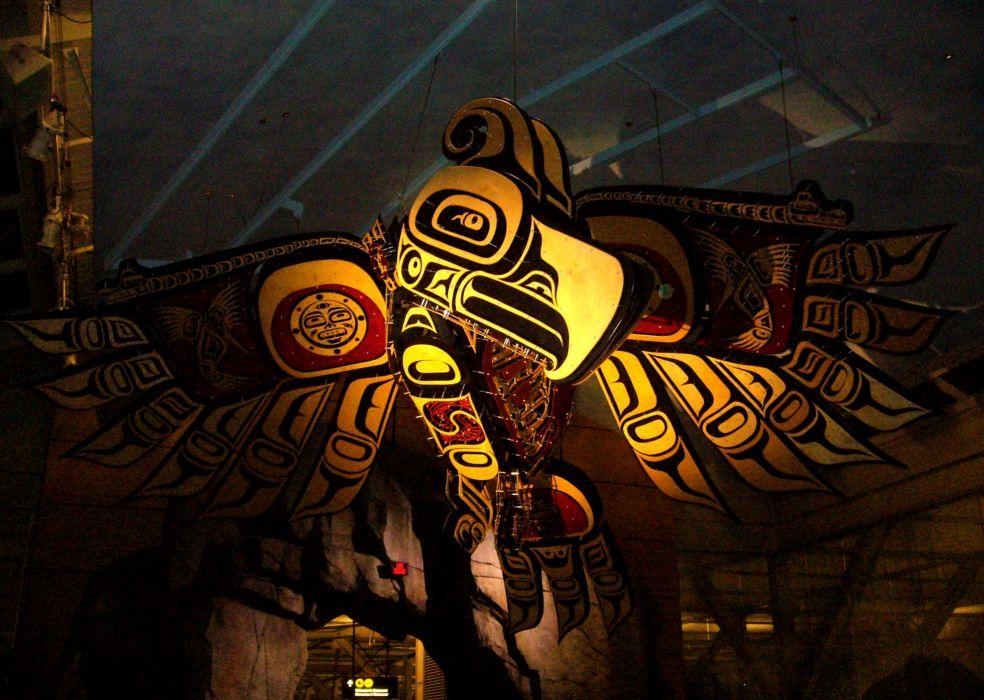 native american culture birds totem sculpture statue wallpaper
