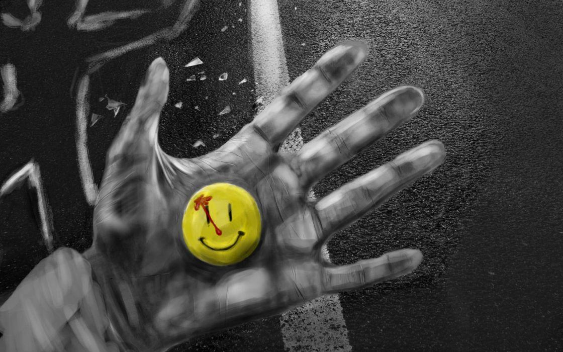 smile icon at the crime scene smiley dark horror blood wallpaper