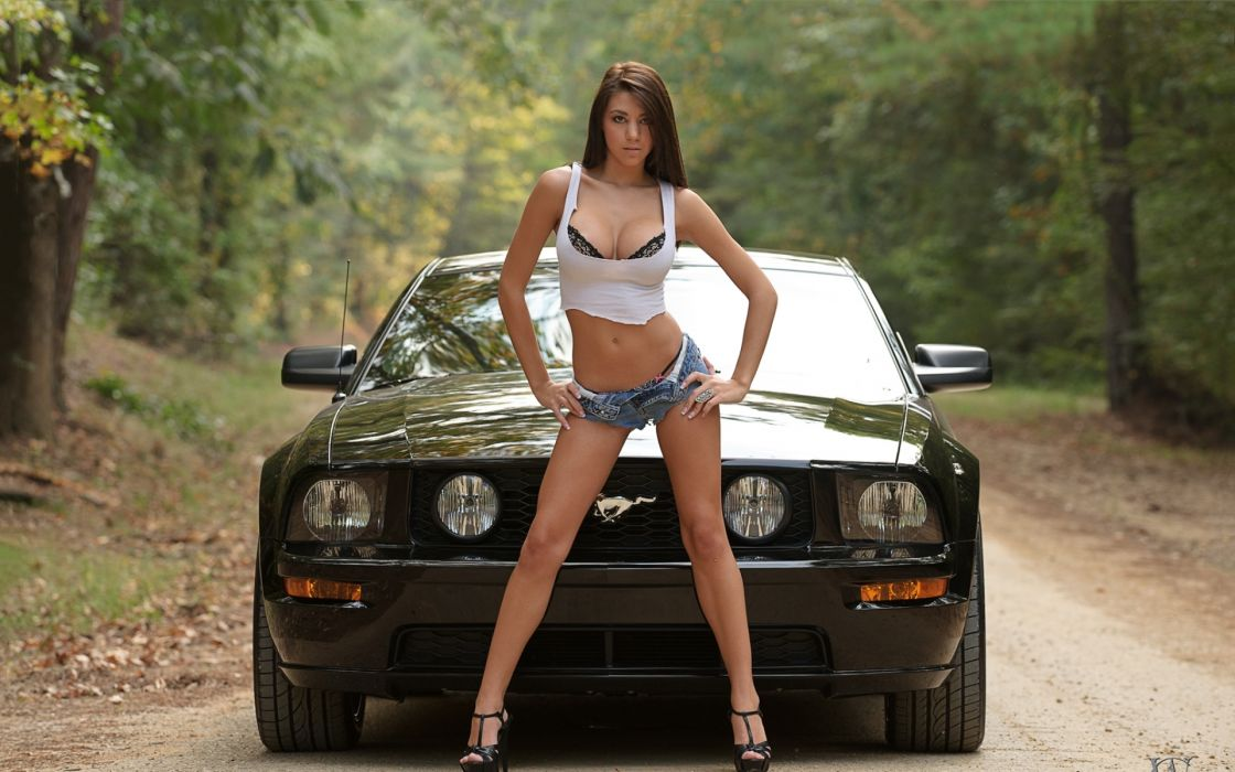 women trees cars cleavage high heels ford mustang denim shorts  wallpaper