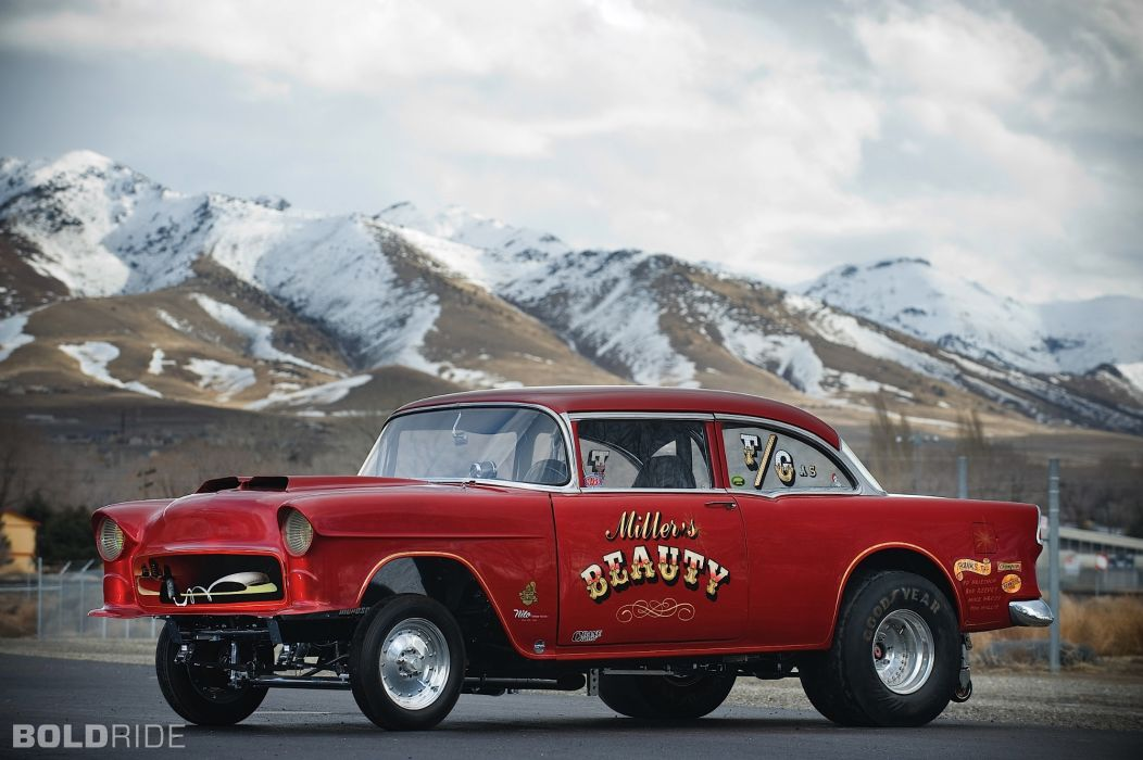 1955 Chevrolet Millers Beauty F Gas hot rod drag racing race cars muscle cars mountains sky clouds roads wallpaper