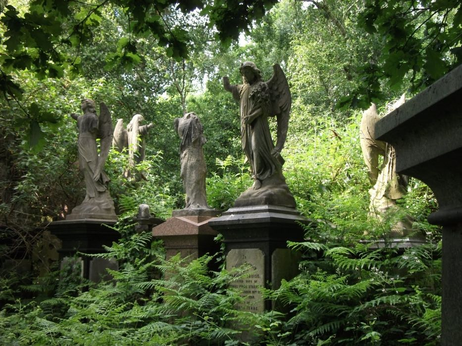 dark gothic angels trees forest leaves statue monument grave cemetery wallpaper