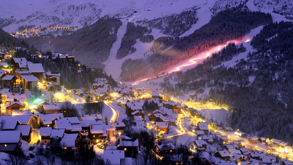 resort sports ski snowboard mountains nature slopes light timelapse buildings winter snow night house wallpaper