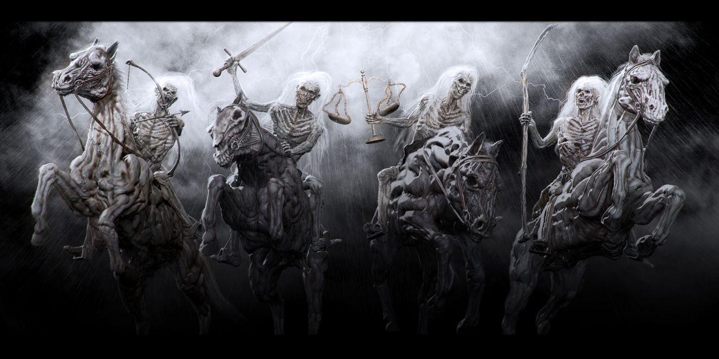 4 Horsemen of the Apocalypse religion revelations bible dark horror skulls skeleton weapons sword horses monsters wallpaper