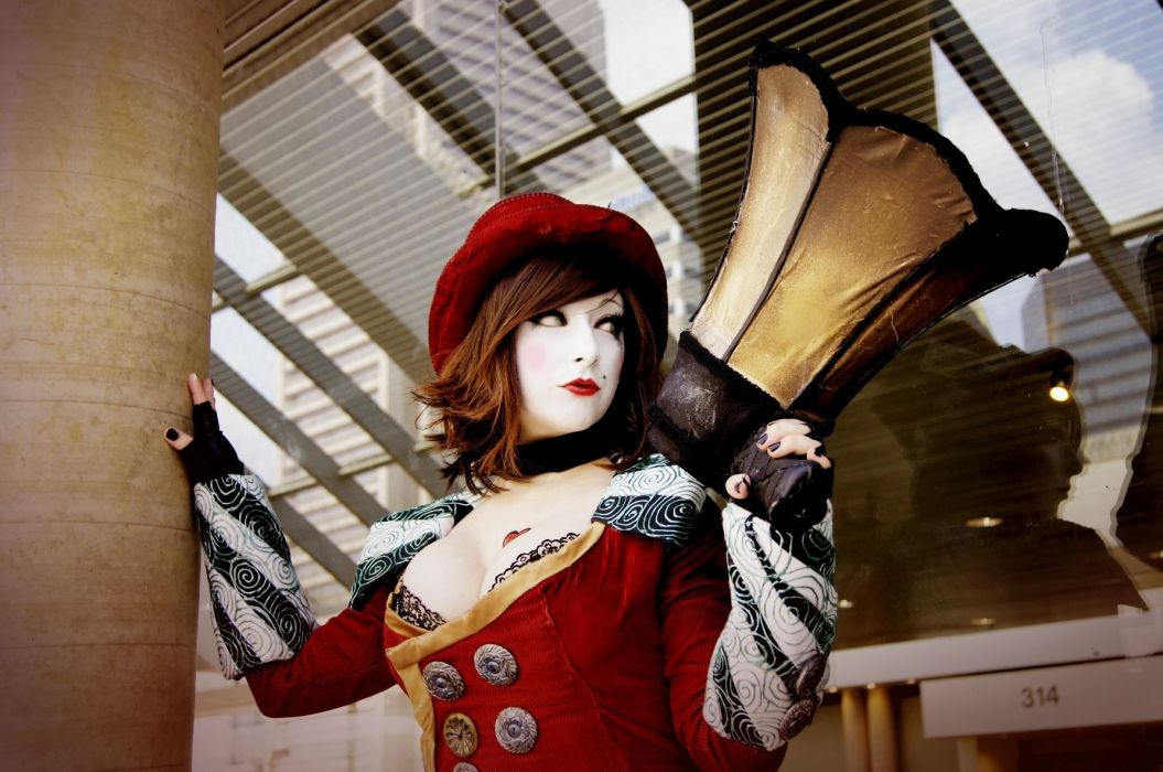 Borderlands Mad Moxxi cosplay women brunettes uniform lingerie costume people cleavage redhead sexy babes models wallpaper
