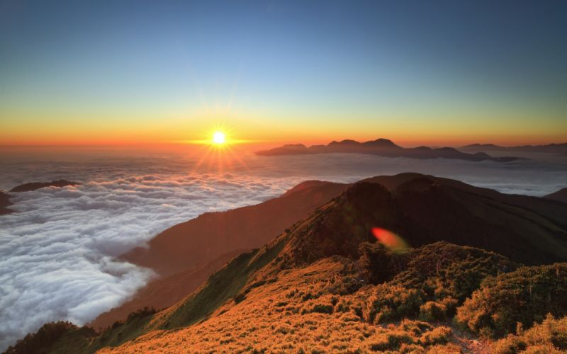 landscapes sunrise sunset sky mountains color fog clouds wallpaper