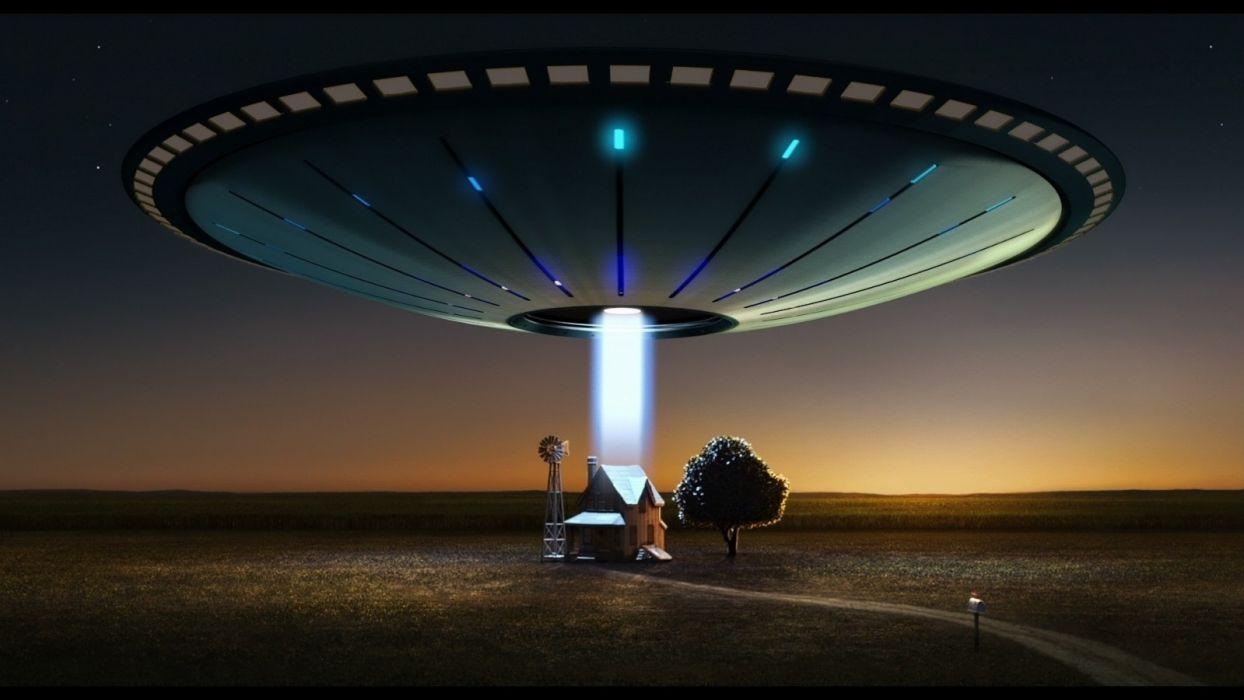 sci fi ufo spaceship spacecreft humor farm landscapes buildings house aliens wallpaper