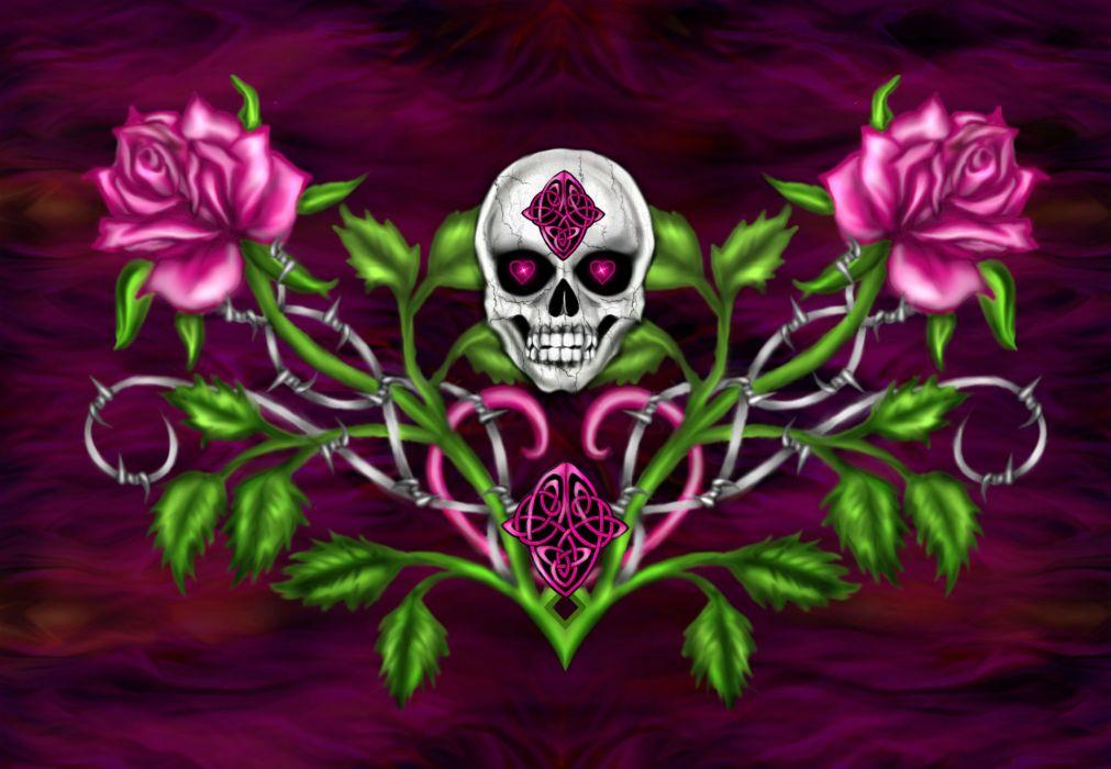 dark horror gothic skull flowers occult art wallpaper