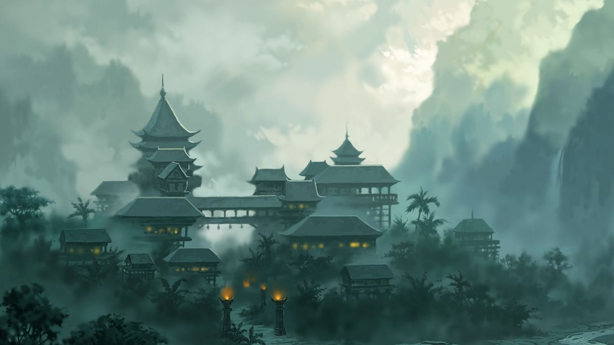 asian oriental fantasy art temple church cathedral architecture buildings landscapes mountains jungle clouds fog wallpaper