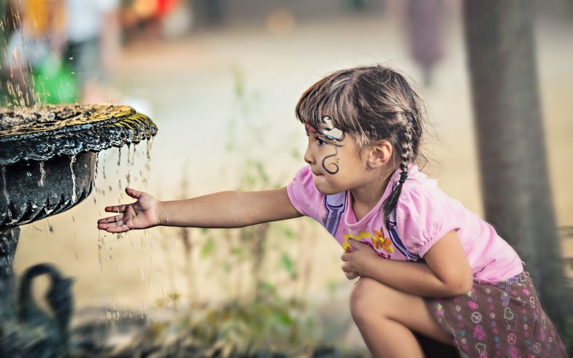 children kids girl cute people mood drops water fountains wallpaper