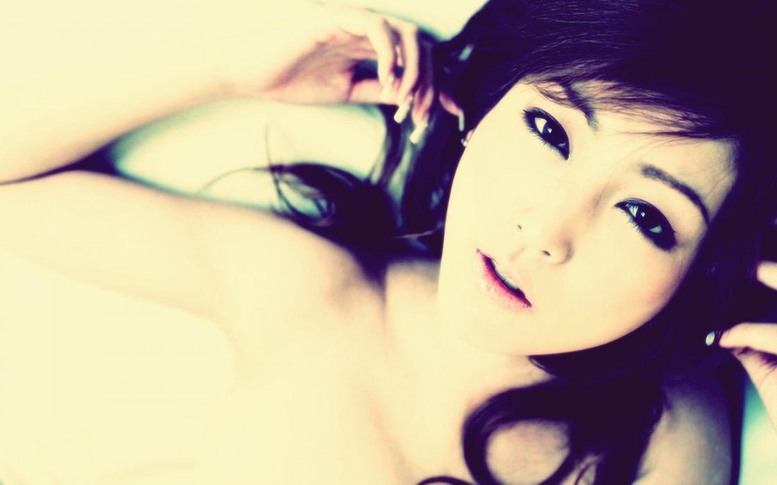 asian oriental face eyes women model brunettes sexy babes wallpaper