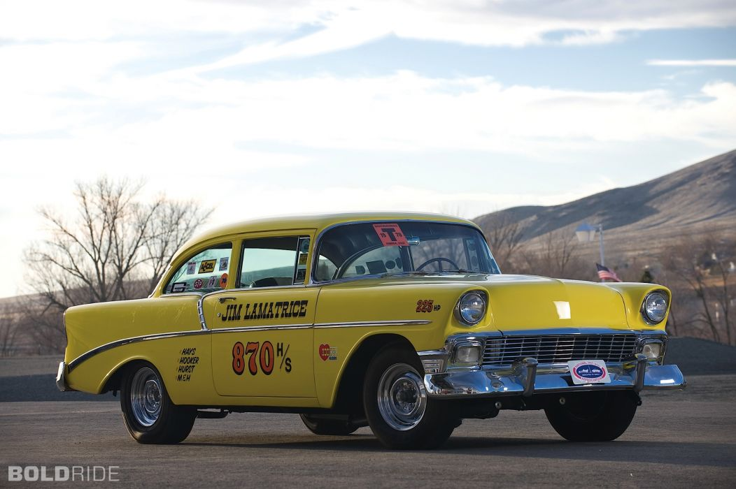 1956 Chevrolet 210 Two-Door drag racing hot rod muscle cars roads sky retro classic wallpaper