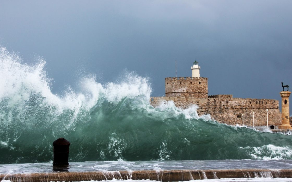 architecture buildings lighthouse wall waves drops spray splash sky wallpaper