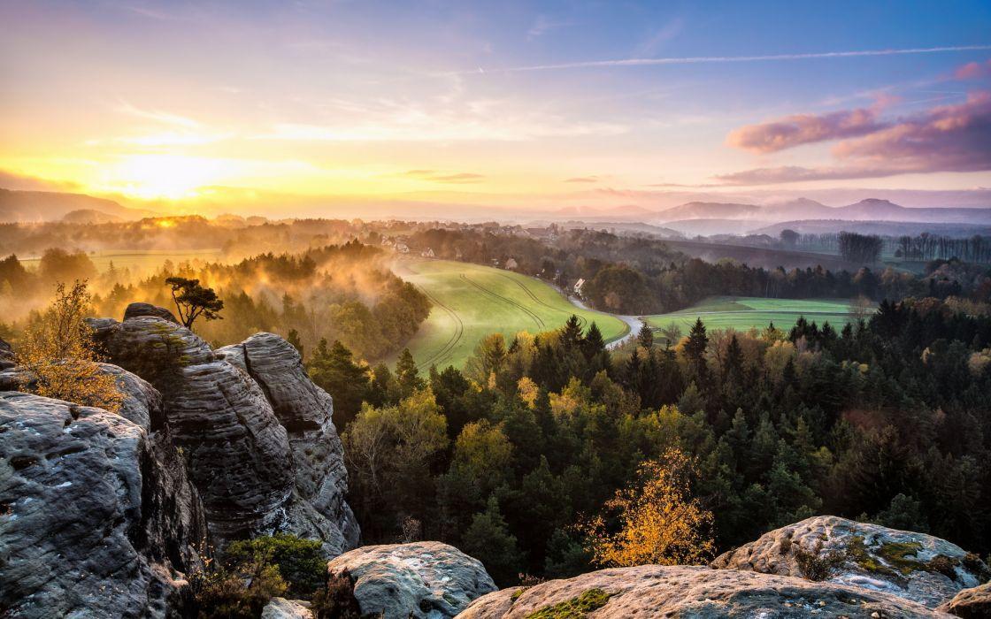 mountains hills scenic trees forest sunrise sunset morning dawn fog mist sky wallpaper