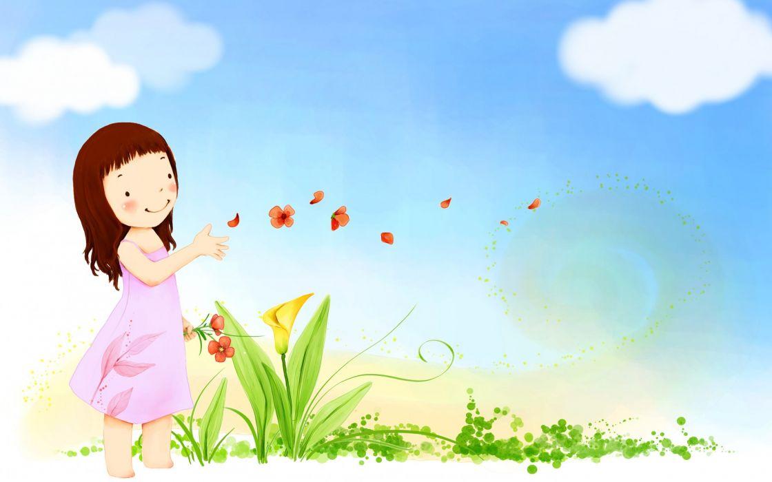 children mood summer happy cute vector girl butterfly flowers sky clouds wallpaper