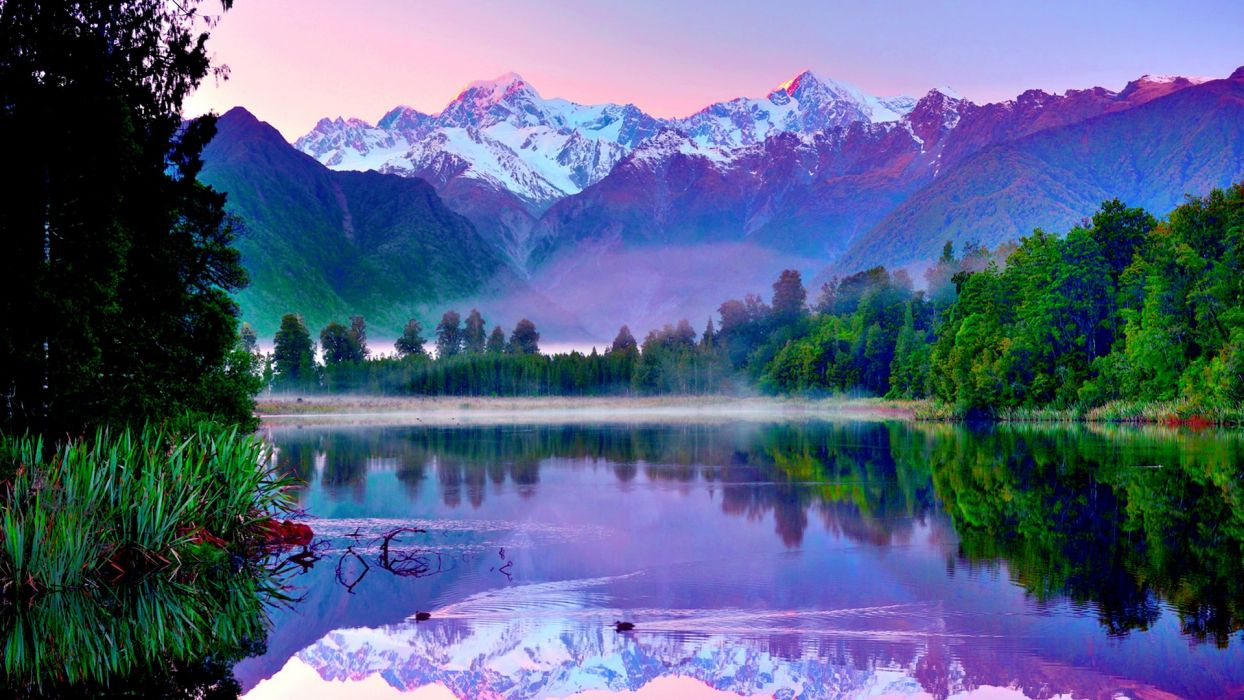 landscapes reflection hdr mountains sky snow trees forest shore fog wallpaper